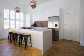 Villa kitchen with feature lights